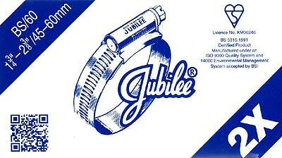 """Size 2X Jubilee Hose Clip Steel Bzp 45Mm To 60Mm - 1.3/4"""" To 2.3/8"""" British Made"""