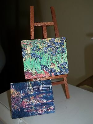 MINIATURE EASEL WITH 2 CANVAS PAINTINGS - DOLL HOUSE MINIATURES