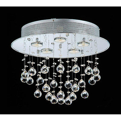 Floating Bubble Chrome and White 5 light Crystal Chandelier Ceiling Fixture Iron