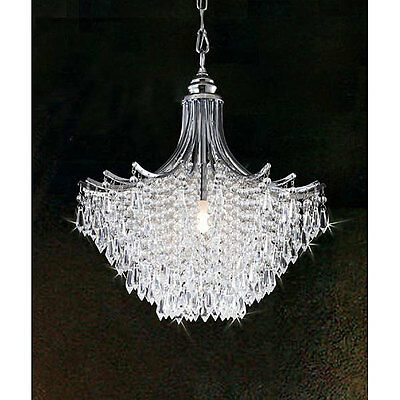 Silver Crystal Chandelier Ceiling Fixture Light Lighting Antique Iron Lamp Deco