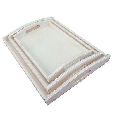 Set of 3 Different Sizes Wooden Serving Trays Decoupage