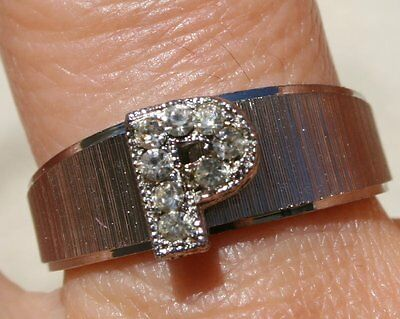 Vintage Well Made  White Gold Tone Brushed P Letter Band Ring W Crystals Size 7
