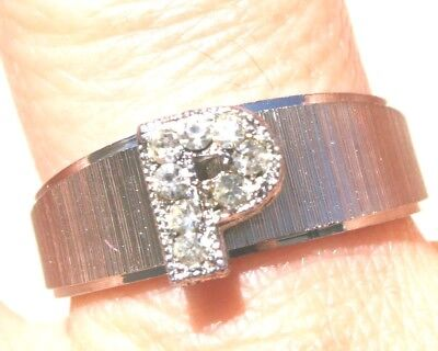 Vintage Gorgeous  White Gold Tone Brushed P Letter Band Ring W Crystals S5.75