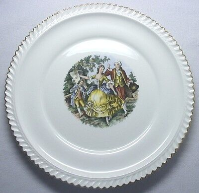 HARKER POTTERY DINNER PLATE 22KT GOLD TRIM VICTORIAN COURTING COUPLE GODEY PRINT