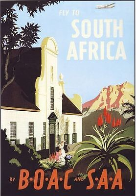 1950's British Overseas Airways BOAC Flights to South Africa Poster  A2 Reprint