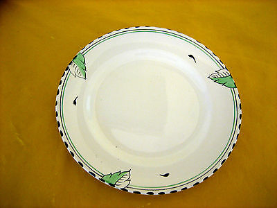 "ART DECO 1930's BURLEIGH WARE IVORY&GREEN LEAF SALAD PLATES  dia 8""   (0.3/154)"
