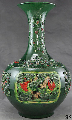 Gorgeous Chinese Large Decorative Earthenware Vase Colorful Floral Design
