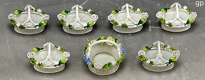 7 Pc Lot of Miniature German Porcelain Floral Baskets/ Salts/ Mint Dishes