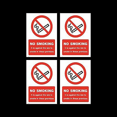 No Smoking Sign, Sticker Pack of 4 200mm x 300mm (A4) Premises, Law - (MISC9)