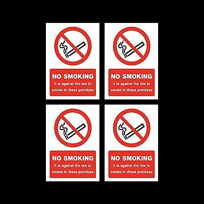 No Smoking Sign, Sticker Pack of 4 - 100mm x 150mm (A6) Premises, Law - (MISC9)