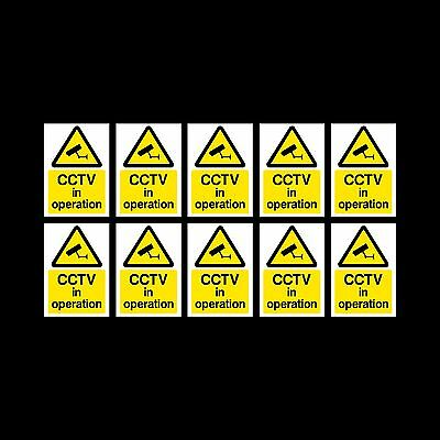 CCTV Sign, Sticker Pack of 10 - 200mm x 300mm (A4) - Security, Camera - (MISC11)