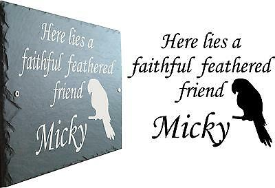 Memorial Slate Sign Plaque - Personalised for your Parrot / Bird - Grave Marker