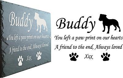 Pet Memorial Slate Plaque, Personalised for you Staffordshire Bull Terrier Staff