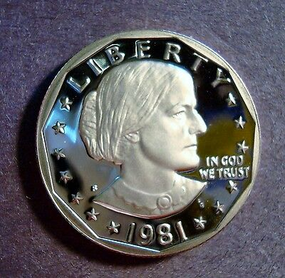 1981-S Gem Proof Susan B. Anthony Dollar Deep Cameo And Mirror Fields *no Toning