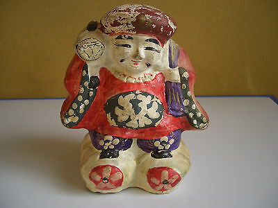 Japan vintage clay doll Mahakala One of the Seven Lucky Gods antique #12104