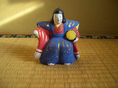 Japanese antique clay doll one of a set of five court musician dolls drum #31