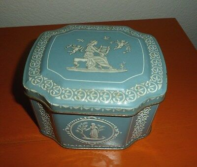 VINTAGE HORNER & CO. TIN CANISTER~WEDGEWOOD JASPERWARE STYLE~GRECIAN STYLE, BLUE