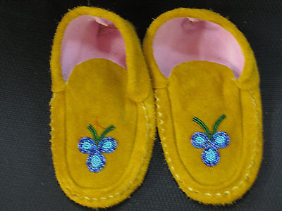Native American  Moose Hide Moccasin  8  Inches Long Blue  Wondrous  Bead Work