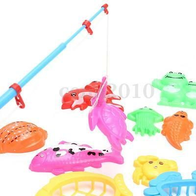 Magnetic Fishing Game Toy Makes Kids Children Bath Time Fun Rod Fish Net 10 in 1