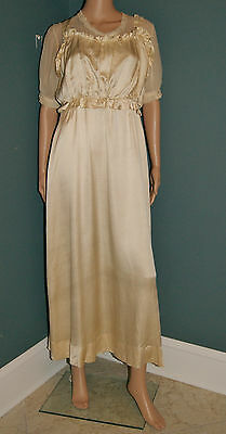 Antique 1900's Edwardian Titanic Era Ivory Silk Period Wedding Dress - Size 6/8