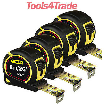4 x Stanley Pocket Tape Measure Tylon Metre 25mm Blade 8M/26Ft 1-30-656 Loose