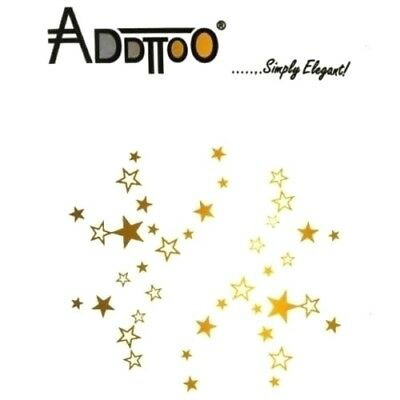 Addttoo Metallic Gold Foil Sparkling Stars Transfer Tattoo Face Body Nails