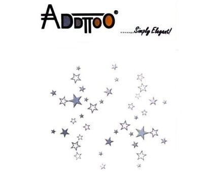 Addttoo Metallic Silver Stars Waterproof Temporary Tattoo Face Hand Body Nail