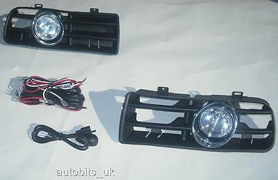 Front Fog Lights Lamps Grille Set For Vw Golf 4 Mk4 Iv 1997-2006 + Wiring Loom