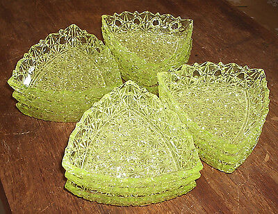 1888 Gillinder Sons Vaseline Glass Daisy Button Thin Bar Triangle Berry Bowls 12
