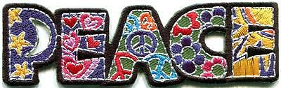 Peace sign hippie boho retro flower love hippy applique iron-on patch G-127