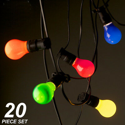 Crompton 20 Piece Coloured Festoon / Party Light Kit - 20 Metres - big and bold!