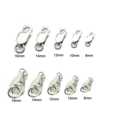 DIY Pure Sterling S925 Silver Hook Lobster Claw Clasp 8mm 10mm 12mm 14mm 16mm