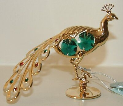 Crystocraft PEACOCK Ornament with Strass Swarovski Crystal Elements Gift NEW