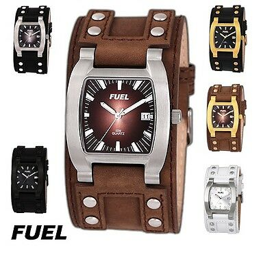 FUEL Men Men's Stainless Steel Cuff Date Watch 50 Meter Water Resistant FW1003