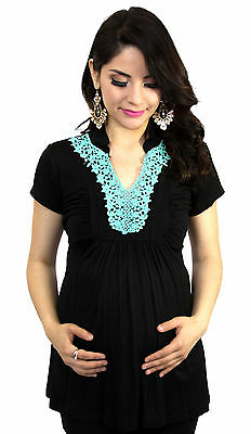 Blue Turquoise Embroidery Black Maternity Women's Short Sleeve Top S M L XL