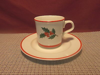 TST Taylor Smith & Taylor Holly & Spruce Red Trim Pattern Cup & Saucer Set