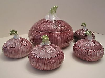 VINTAGE NEIMAN MARCUS ONION SOUP TUREEN & 4   BOWLS MADE IN ITALY! NUMBERED!