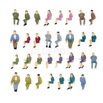 50pcs Painted Model Seated People Passengers Figures for Scenery O Scale 1:50