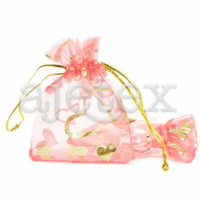 20 Pink Rectangle Organza Hearts Love Fashion Pouches Gift Bags 70x90mm BB0003-2