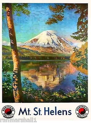 1930s Mt. St. Helens Washington Vintage Railroad Travel Advertisement Poster