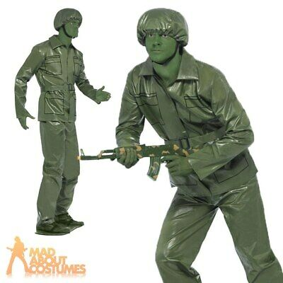 Toy Story Soldier Costume Mens Plastic Army Fancy Dress Stag Do Outfit Green