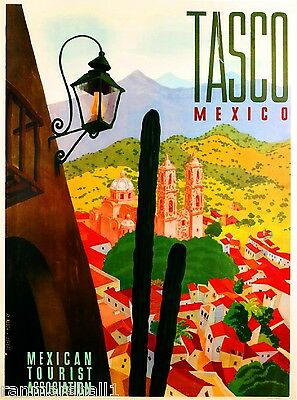 1930s Tasco Mexico Mexican Spanish Vintage Travel Advertisement Art Poster