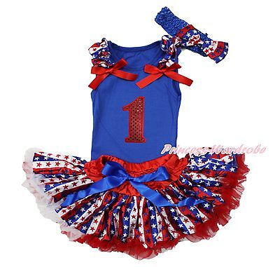 Red Sparkle 1ST Birthday Blue Top Star Stripe Newborn Baby Girl Skirt Set NB-12M