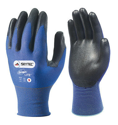 5 x Pair Of Skytec NINJA LITE Work Gloves Ultra Light Thin Safety Wear PU Coated