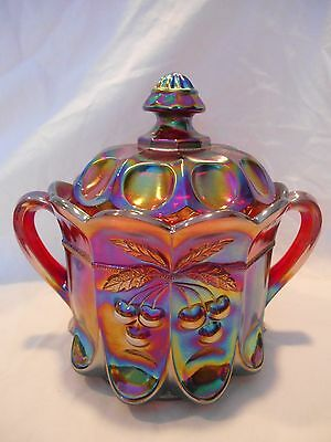 Westmoreland Ruby Red Carnival Cherry Cable Cookie Cracker Covered Jar Dish