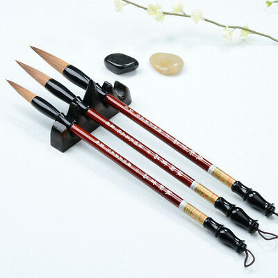 Set of 3 Size Chinese Calligraphy Brush Pen Writing Art Craft Wolf Weasel Hair