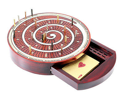 Spiral Shape Cribbage Board Continuous Inlaid 4 tracks + Drawer + Metal Pegs
