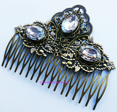 Tudor Dark Gold & Rhinestone Hair Comb Alternative Crown Larp Ren Sca