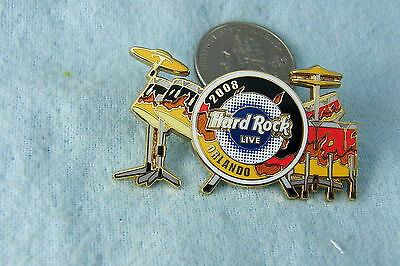 HARD ROCK CAFE PIN ORLANDO LIVE 2008 DRUM SET FLAME DESIGN LE 300