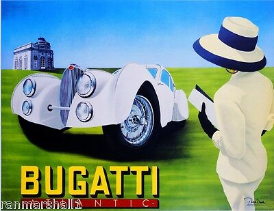 French Bugatti Atlantic Automobile Car Vintage Advertisement Art Poster Print